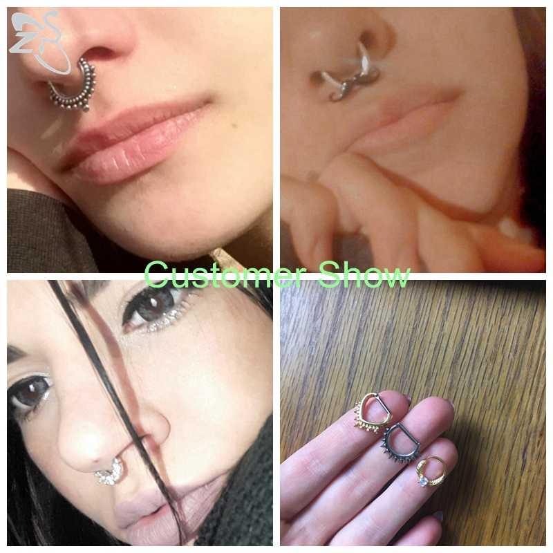 ZS 16G الجراحية الصلب الهندي الأنف الحاجز خواتم النساء كريستال الأذن اللولب الفرس الثقب القرط الحاجز هوب ثقب المجوهرات