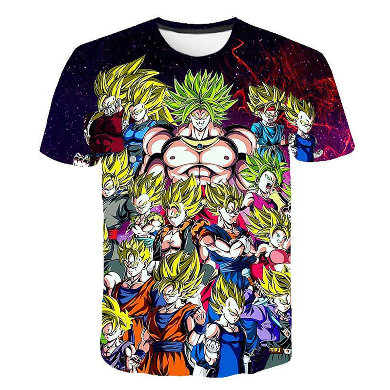2019 Children School Summer Short Sleeve Dragon Ball Z T shirt For Boy Tshirt Girls Clothes Kids 3D Goku Print Anime Tee Tops in T Shirts from Mother Kids