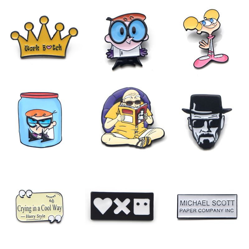 V121 Dragon Ball Z And Breaking Bad  Metal Enamel Pins And Brooches Fashion Lapel Pin Backpack Bags Badge Gifts 1pcs