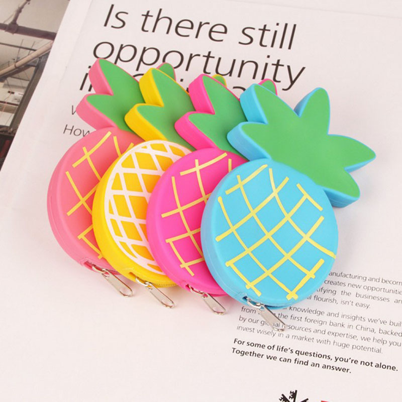 1 Pcs Kawaii New Candy Color Pineapple Zipper Coin Purse Candy Color Small Fruit Coin Storage Bag Stationery
