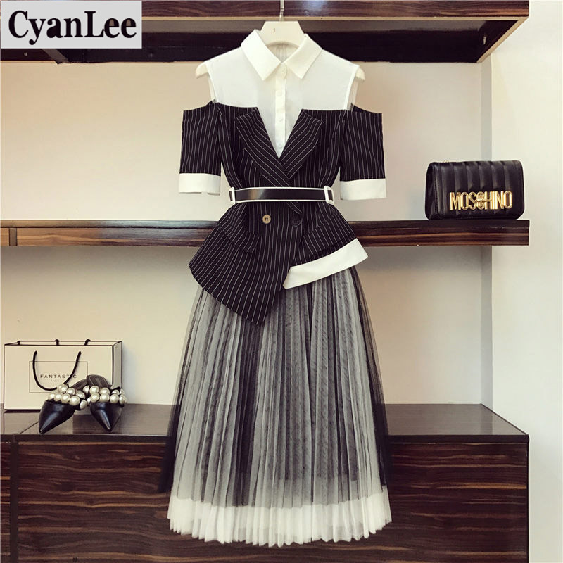 Cyanlee New Fashion Large Size  Two Piece Set Women's Office Summer Stripe Spliced Off-shoulder Tops And Pleated Skirt Sets 4XL