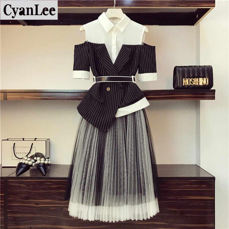 Cyanlee חדש אופנה גדול גודל שתי חתיכה להגדיר נשים של משרד קיץ פס איחה off-כתף צמרות קפלים חצאית סטי 4XL
