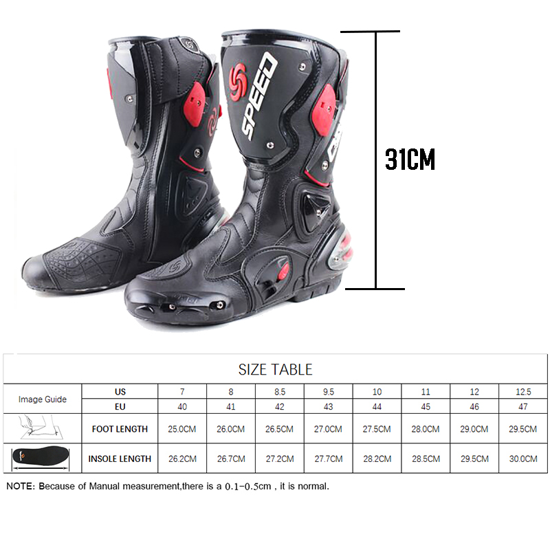 Image 5 - Motorcycle boots men speed 4 seasons Protective Gears moto shoes Black red white motorcycling boot motocross boots-in Motocycle Boots from Automobiles & Motorcycles