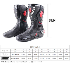Image 5 - Motorcycle boots men speed 4 seasons Protective Gears moto shoes Black red white motorcycling boot motocross boots