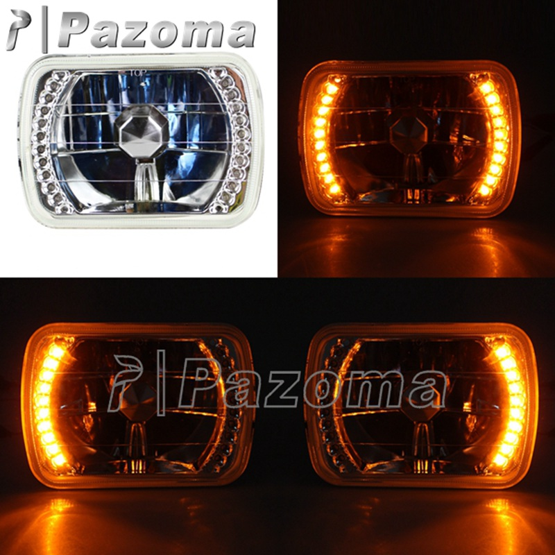 "7x6/"" Halogen Semi Sealed H4 Crystal Glass Headlight Conversion w Bulbs Chevrolet"