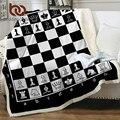 Постельные принадлежности Outlet шахматная доска одеяло s для кровати черно-белые плюшевые покрывала игры постельные принадлежности квадраты...
