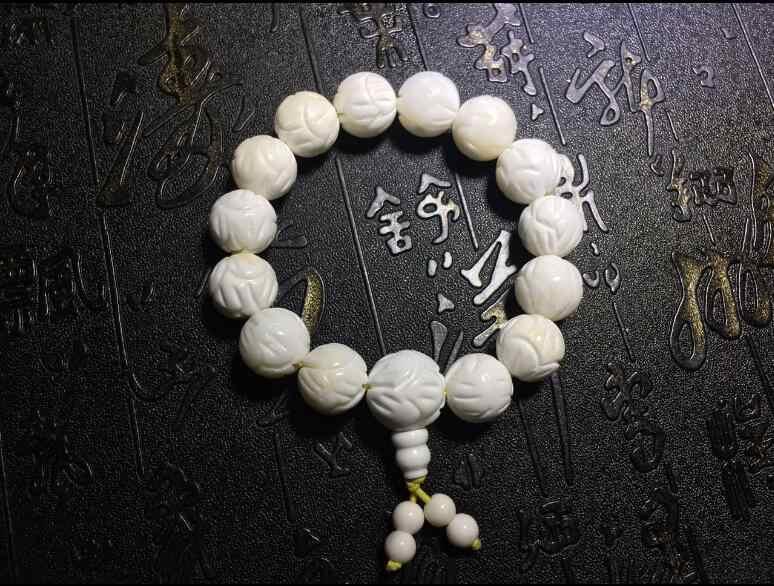 + + + 1023 el loto natural tallado cuentas de caparazón blanco pulsera mano en hombres y mujeres