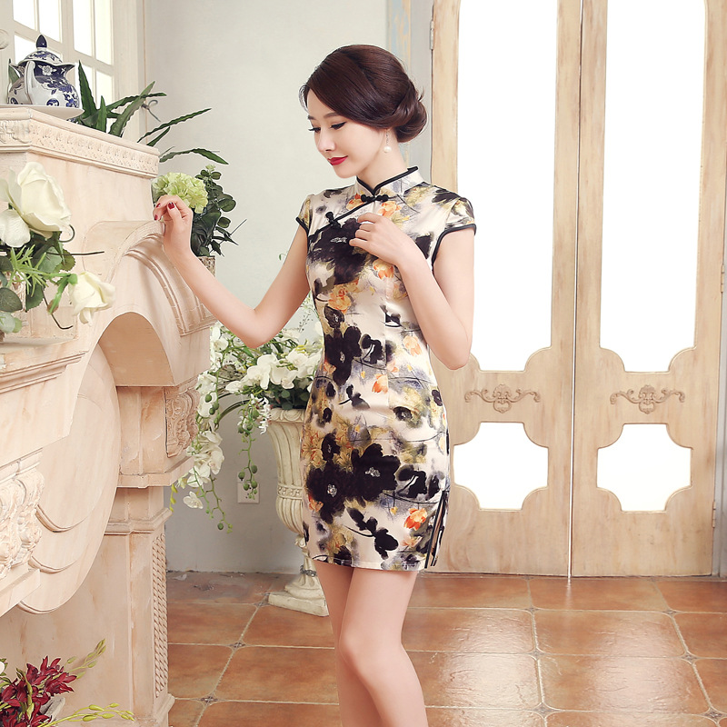 Wholesale Short Cheongsam Spring Summer Chinese-style Dress Performance Costume Low Slit New Style Contrast Color LGD17