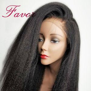 Image 1 - Кудрявые прямые Синтетические волосы на кружеве человеческие волосы парики предварительно вырезанные для черный Для женщин 13x4 Реми бразильские Яки Синтетические волосы на кружеве парики из натуральных волос на пользу