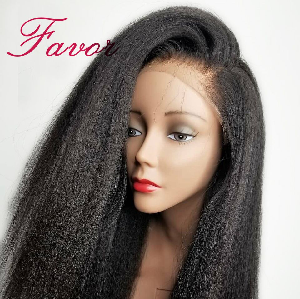Kinky Straight Lace Front Human Hair Wigs Pre Plucked For Black Women 13x4  Remy Brazilian Yaki Lace Front Human Hair Wigs Favor-in Human Hair Lace Wigs from Hair Extensions & Wigs