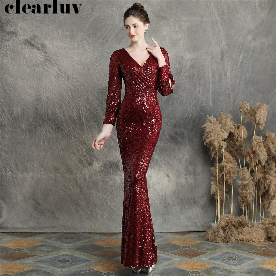 Mermaid Prom Dress Burgundy Long Sequins Women Party Dress DX240-4 2019 New Plus Size Robe De Soiree Full Sleeves Evening Dress