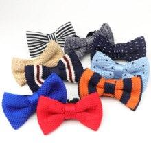 Детская вязаная бабочка, регулируемый эластичный галстук-бабочка, дизайнерское детское вязаное платье, вязаный галстук-бабочка