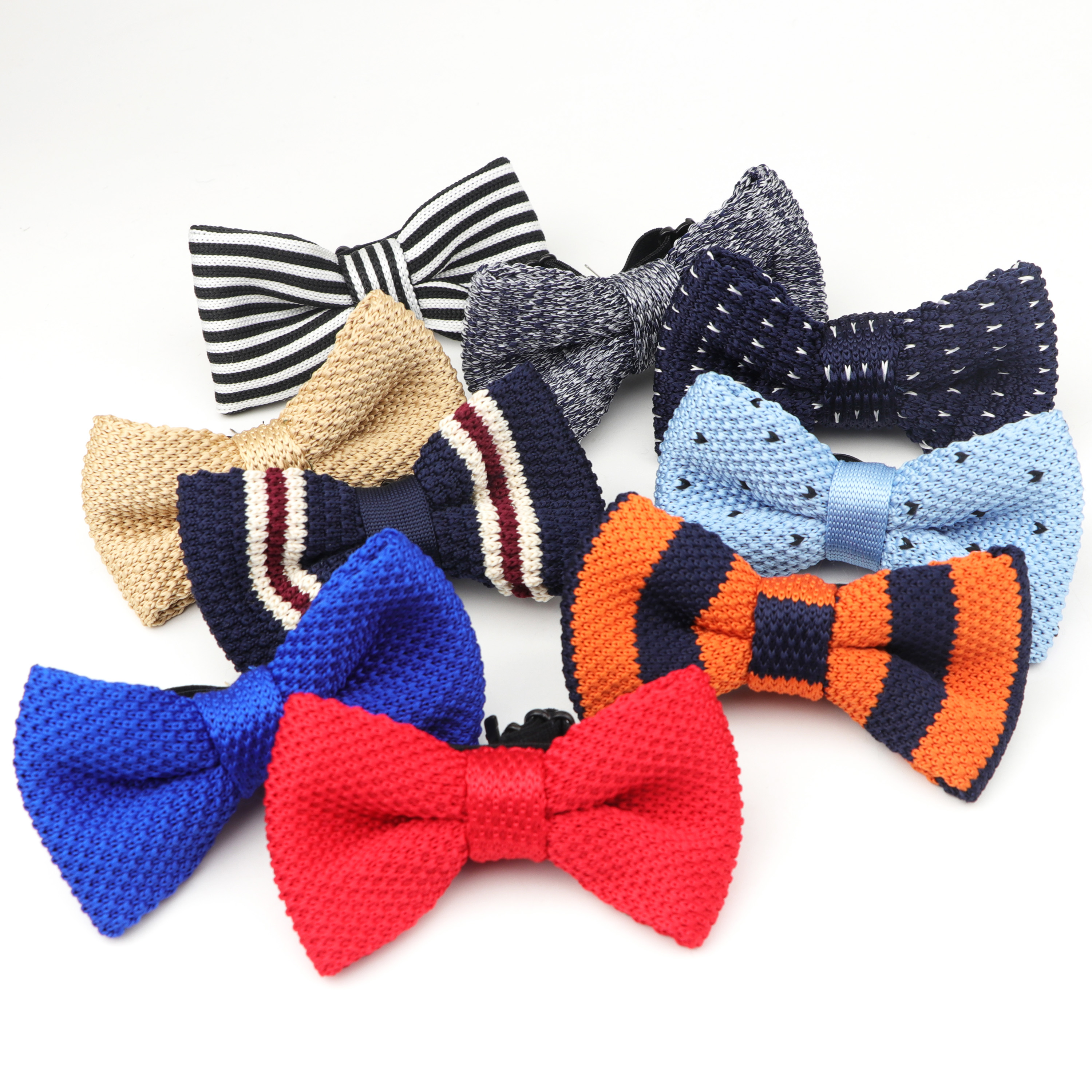 Kid Knit Bowtie Adjustable Elastic Butterfly One Deck Neckwear Bowties Designer Children Knitting Dress Knitted Bow Tie