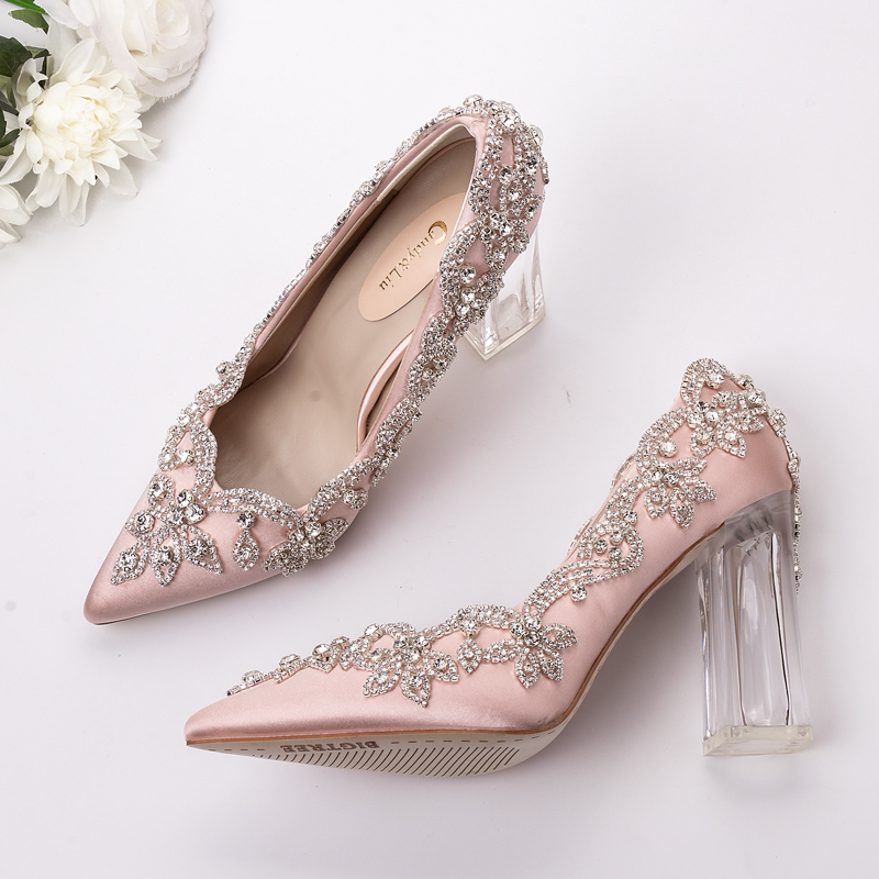 Bride Shoes Pink Princess Bling Crystals Sweety Expensive Worthful Big Heels Occasion Festival Party Female Fashion Pumps