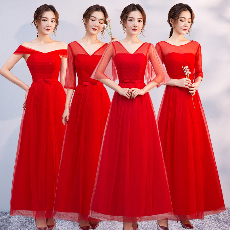 Red Bridesmaid Dresses Elegant Maid Of Honor Dresses For Weddings Guest A-Line Wedding Party Dress Prom Sexy Azul Royal Vestidos