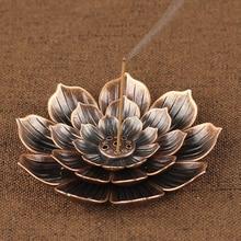 Обратный ладан горелка держатель для ароматических палочек дома буддизм украшения катушки лотоса кадило бронза/медь воздушный испаритель буддизм дзен