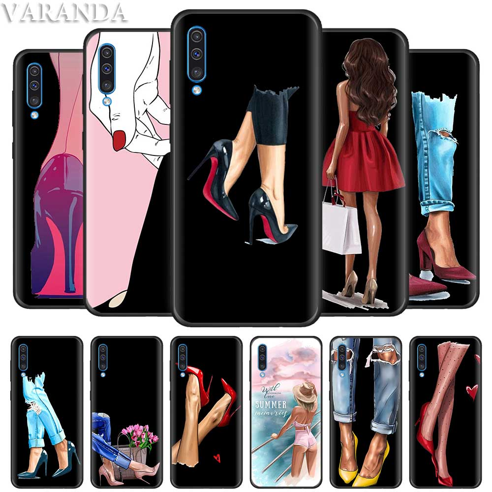 Fashion High heels Girl <font><b>Flower</b></font> <font><b>Case</b></font> for <font><b>Samsung</b></font> <font><b>Galaxy</b></font> <font><b>A70</b></font> A50 A90 5G A80 A71 A51 A40 A30 A20e A20 A10 A10e Black Soft Cover Coq image