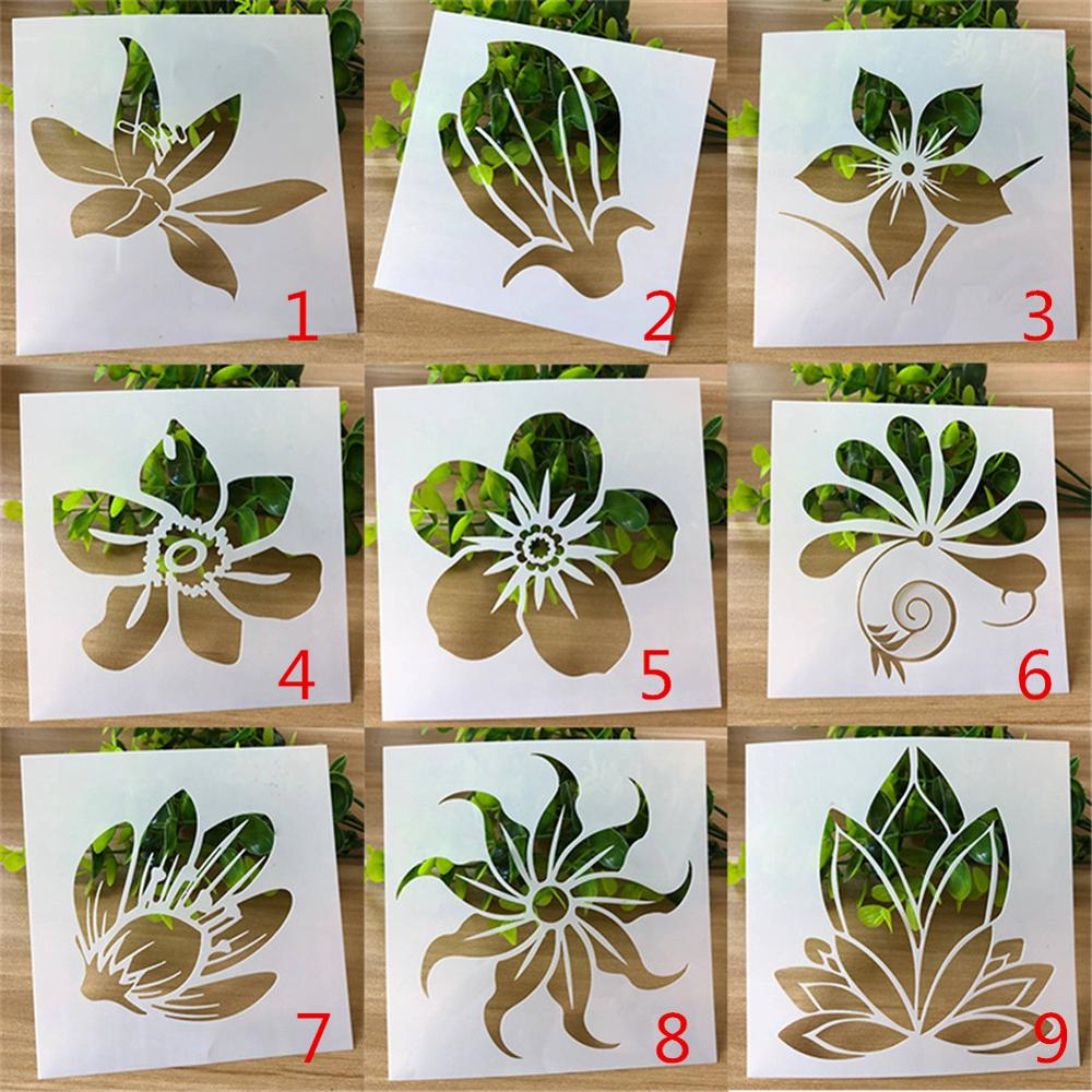 Flower Series Spray Pattern Children's Hand Copy Newspaper Hollow Template Student DIY Painting Graffiti Coloring Tool