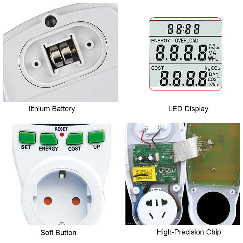 Digital LCD ENERGY METER Power Analyzer Wattmeter Watt Listrik KWh Power Meter Uni Eropa Bahasa Perancis US UK AU Mengukur Outlet