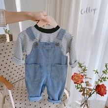 Overalls Jeans Pants Jumpsuits Baby-Girl Kids Children's Denim Spring Cotton for Big