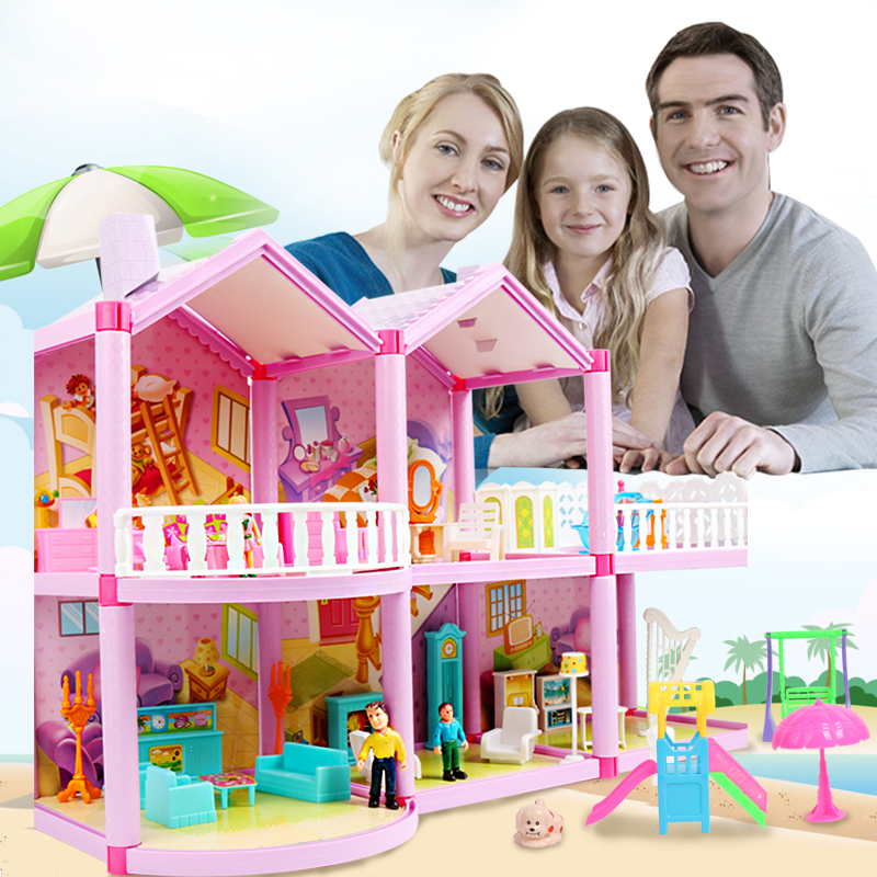 DIY Family Dollhouse Toys Baby Handmade Puppet House Assemble Miniature Doll House Castle Miniatures Casa Toys For Children Gift