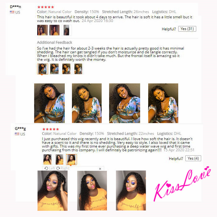 KissLove Deep Wave 13x6 13x4 Lace Front Human Hair Wigs for Black Women Prepluck Glueless Brazilian Curly 5X5HD Lace Closure Wig 6