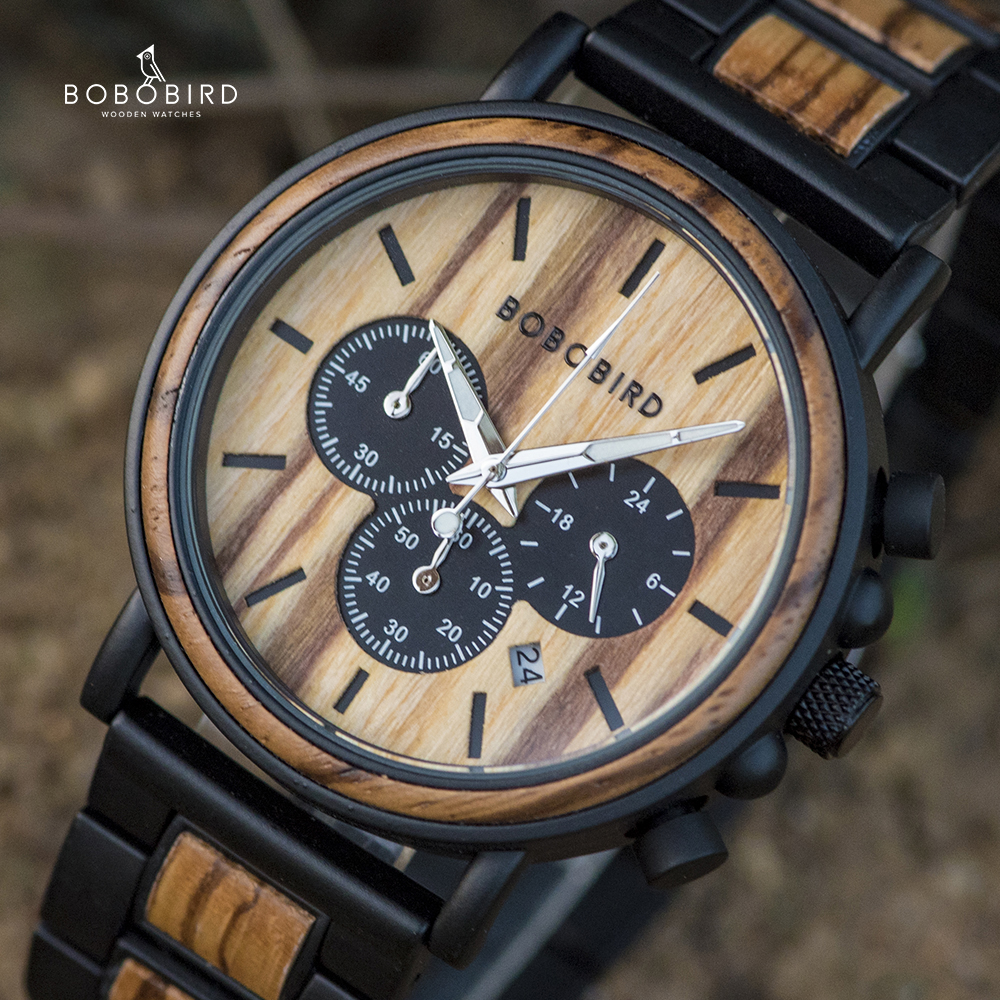 BOBO BIRD Wood Watch Men Stopwatch Chronograph relojes hombre Show Date Wooden Quartz Wristwatch Male Timepieces In Gift Box-in Quartz Watches from Watches