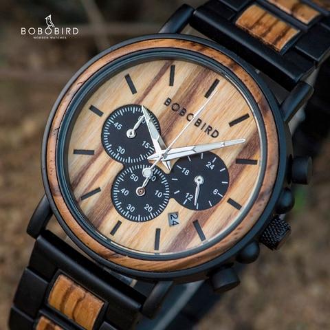 Relógio de Madeira Relógio de Pulso de Quartzo de Madeira Relógios na Caixa de Presente Bobo Pássaro Homem Cronômetro Cronógrafo Relojes Hombre Mostrar Data Masculino