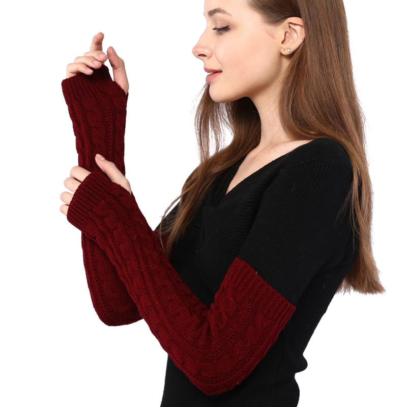 Women Autumn Winter Half-finger Wool Gloves Long Twist Knit Warm Arm Cover