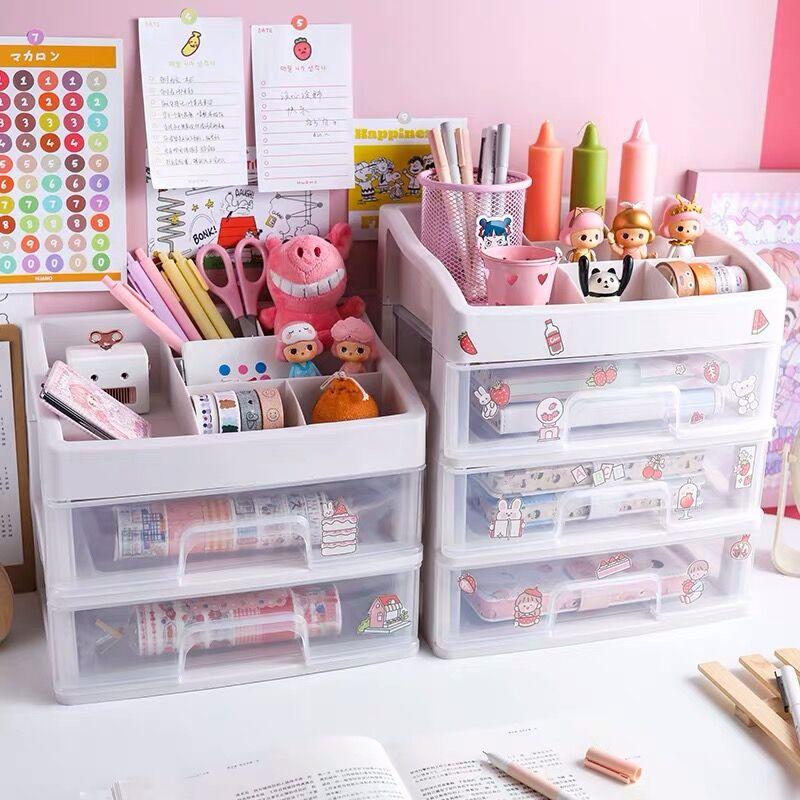 Sharkbang ABS Drawer Type Desktop Organizer Notebook Pen Storage Box Makeup Lipstick Shelf School Office Accessories Stationery