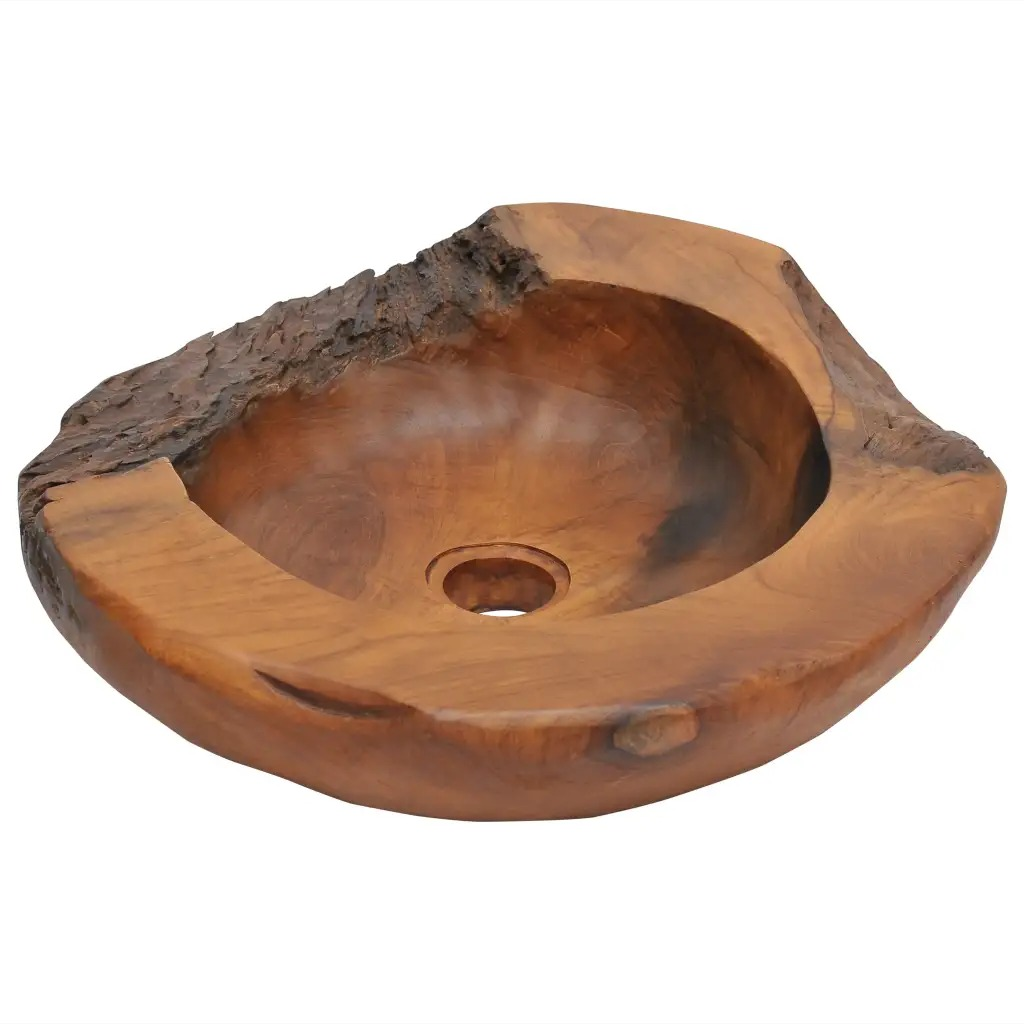 VidaXL Basin Solid Teak 45 Cm Solid Teak Waterproof Unique Wash Basin Not Only A Practical Sink But Also An Adornment V3