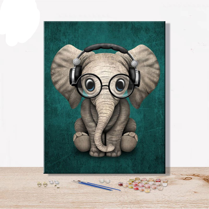 Elephant Animal Draw Coloring By Numbers Modern Art Pictures Handmade Amusing Oil Canvas Painting By Numbers Home Wedding Decor