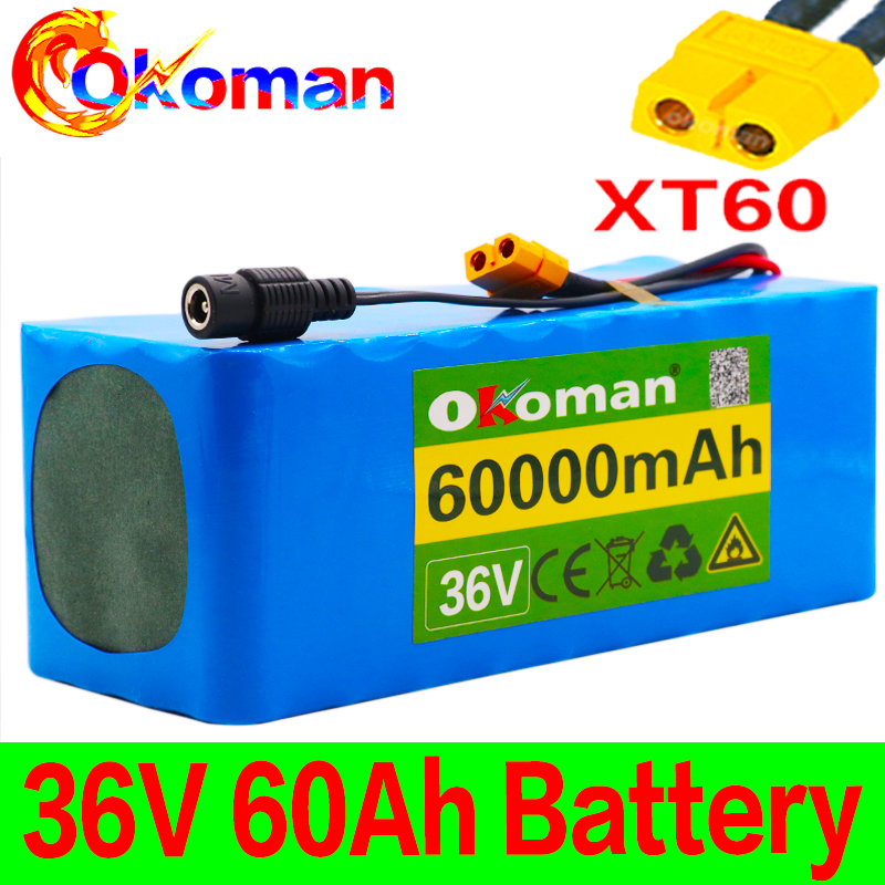 36V battery 10S4P 60Ah battery pack 500W high power battery 42V 60000mAh Ebike electric bicycle BMS 42v battery with xt60 plug title=