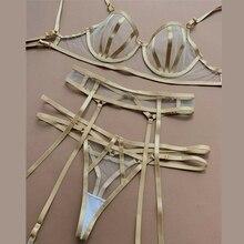 3PCS Women Sexy Lace Lingerie Bra+G-string Garter Set Lady B