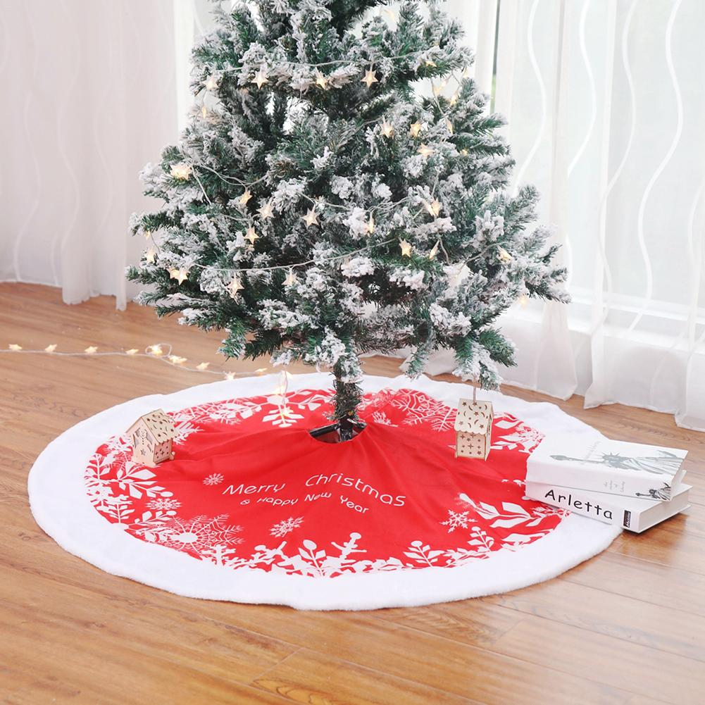 90cm 122cm Red White Tree Skirt High grade Plush Sequins Embroidered Christmas Tree Skirt Christmas Tree Decorations in Tree Skirts from Home Garden