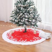 90cm/122cm Red White Tree Skirt High-grade Plush Sequins Embroidered Christmas Decorations