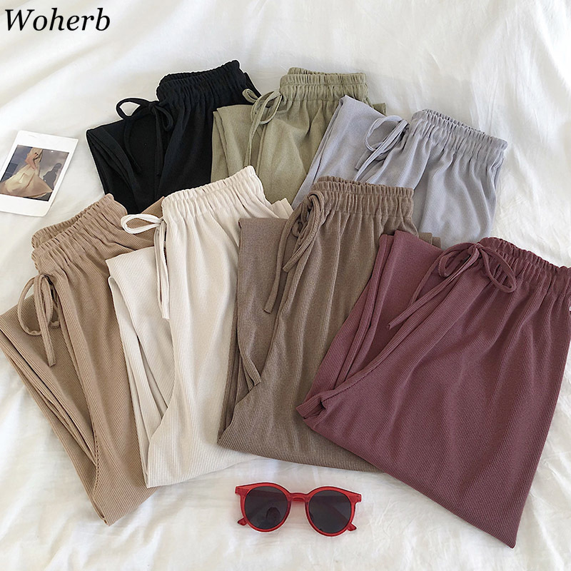 Woherb High Waist Casual Loose Wide Leg Pants Female Lace Up Straight Long Trousers Women Trendy Fashion 2020 Spring New 91607
