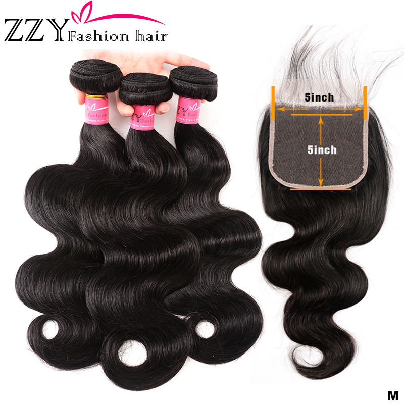 ZZY Fashion Brazilian Hair Body Wave 3 Bundles With Closure Human Hair Bundles With Closure 5*5 Non-remy Human Hair Extensions