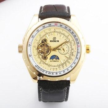 GOER de lujo relojes tourbillion mecánico de los hombres pulsera de cuero de los hombres relojes de fase de la luna relojes esqueleto Reloj Hombre