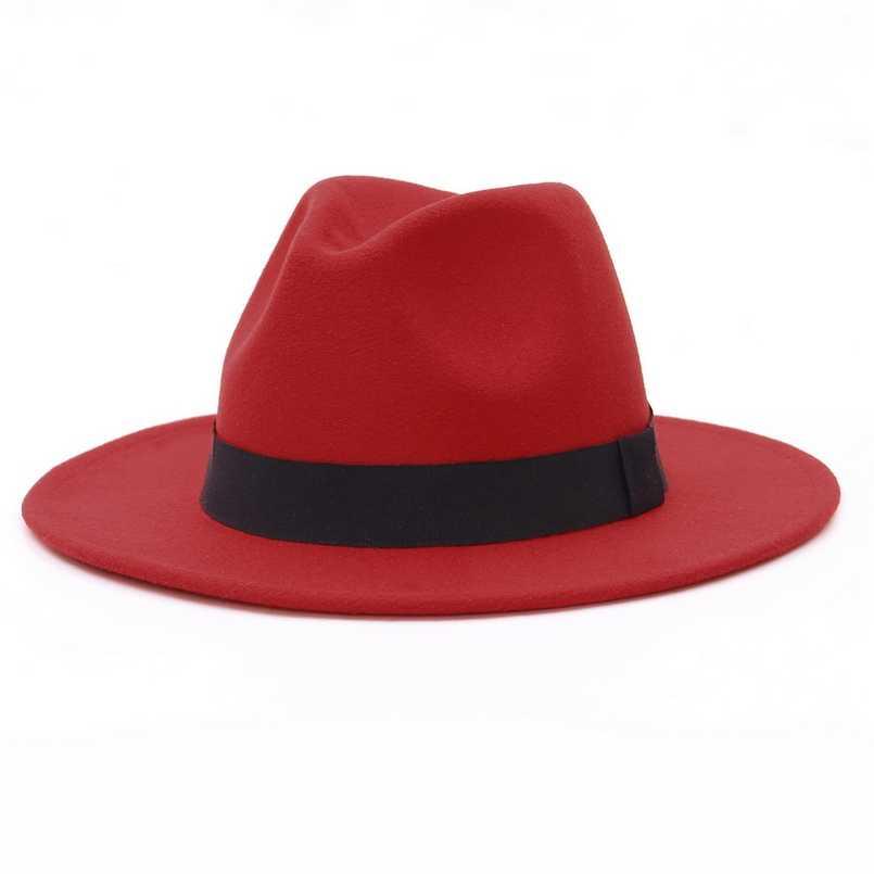 breite Krempe Rot HUDANHUWEI Damen Fedora-H/üte mit G/ürtelschnalle Panama-Fedora-Kappe Einheitsgr/ö/ße
