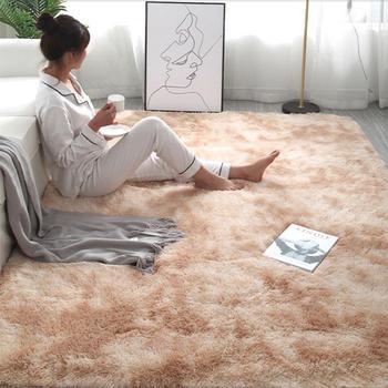 RULDGEE Shaggy Tie-dye Carpet Printed Alfombra Plush Floor Fluffy Mats Kids Room Faux Fur Area Rug Living Room Mats Silky Rugs