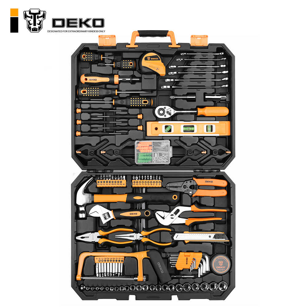 DEKO TZ168 Socket Wrench Tool Set Auto Repair Mixed Tool Combination Package Hand Tool Kit with Plastic Toolbox Storage Case