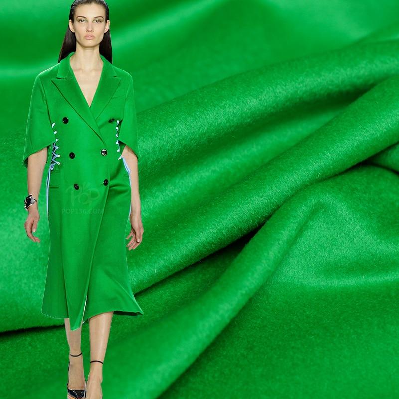 Pearlsilk vert vif haute brillance qualité revêtement cachemire laine tissus matériaux hiver femmes pardessus tissu livraison gratuite