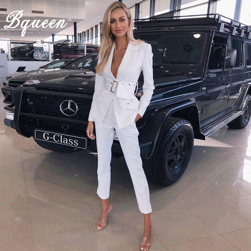 Bqueen 2019 Fashion Turn-down Collar Hollow Out Blazer With Belt  Long Pant Suits Set Formal Women Office Lady 2 Pieces Sets