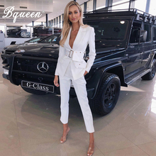 Bqueen 2019 Fashion Turn-down Collar Hollow Out Blazer With Belt Long Pant Suits