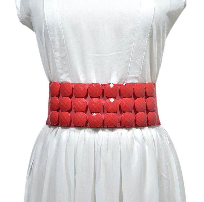 Women's Runway Fashion Elastic Button Cummerbunds Female Dress Corsets Waistband Belts Decoration Wide Belt R2235