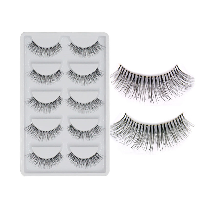 5 Pairs/lot Natural Sparse Cross Eye Lashes Extension Makeup Long False Eyelashes Free Shipping High Quality