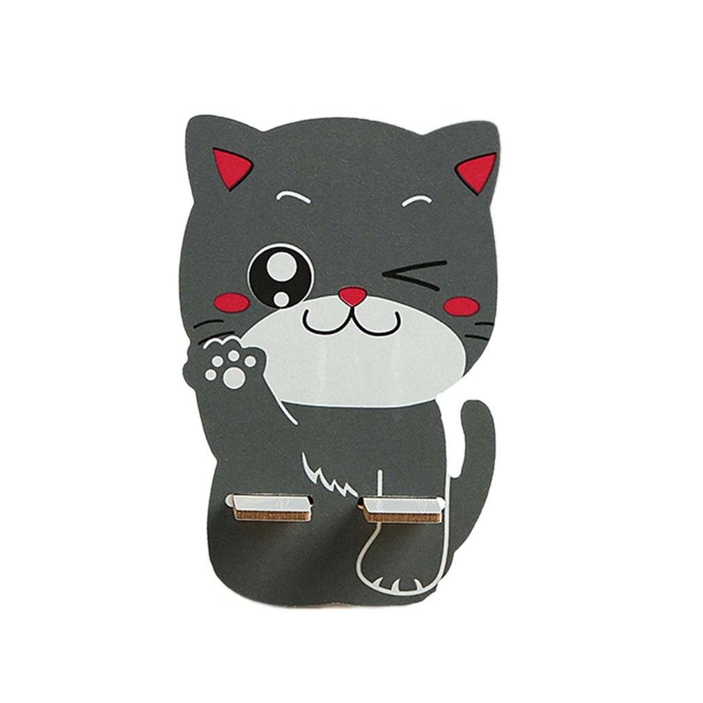 Милый держатель для мобильного телефона с мультяшным котом, деревянный держатель для мобильного телефона, настольная подставка для мобиль...