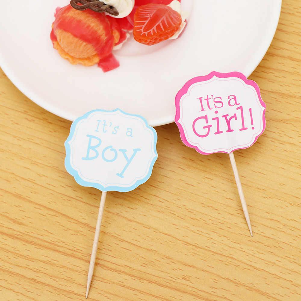 24 piezas niños favores cumpleaños azul rosa pastel Toppers Baby Shower fiesta es un niño/es un chica Cupcake Toppers decorar con palos