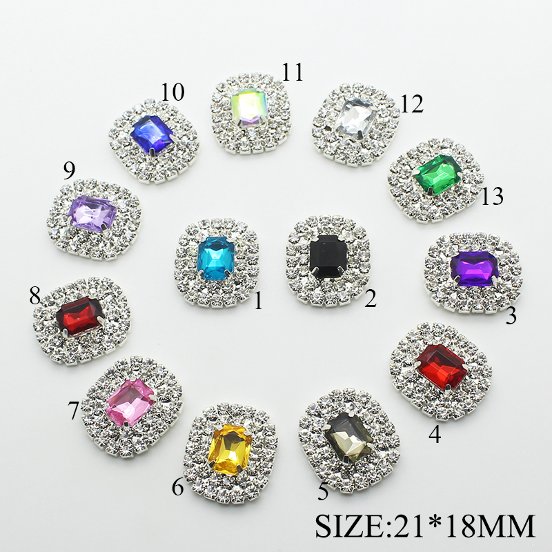 10PCS/LOT 21*18MM Rhinestone Snap Sewing Needlework Fabric Buttons For Clothes Flat Back Rhinestone Embellishments Button Decor